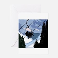 Chairlift Full of Skiers Greeting Cards