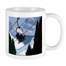 Chairlift Full of Skiers Mugs