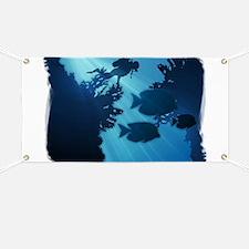 Underwater Blue World Fish Scuba Diver Banner