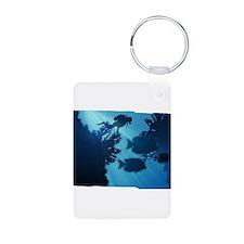 Underwater Blue World Fish Scuba Diver Keychains