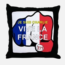 JE SUIS CHARLIE VIVE LA FRANCE FIST Throw Pillow