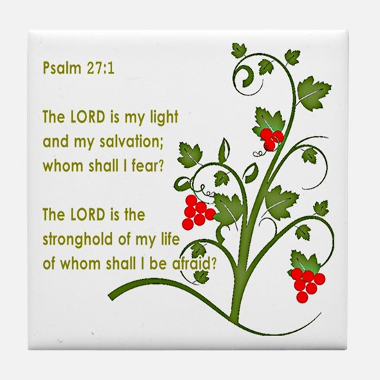 Psalm 27:1 Tile Coaster