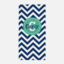 Navy Mint Chevron Personalized Beach Towel