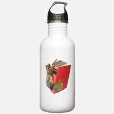 Squirrel on Book Water Bottle