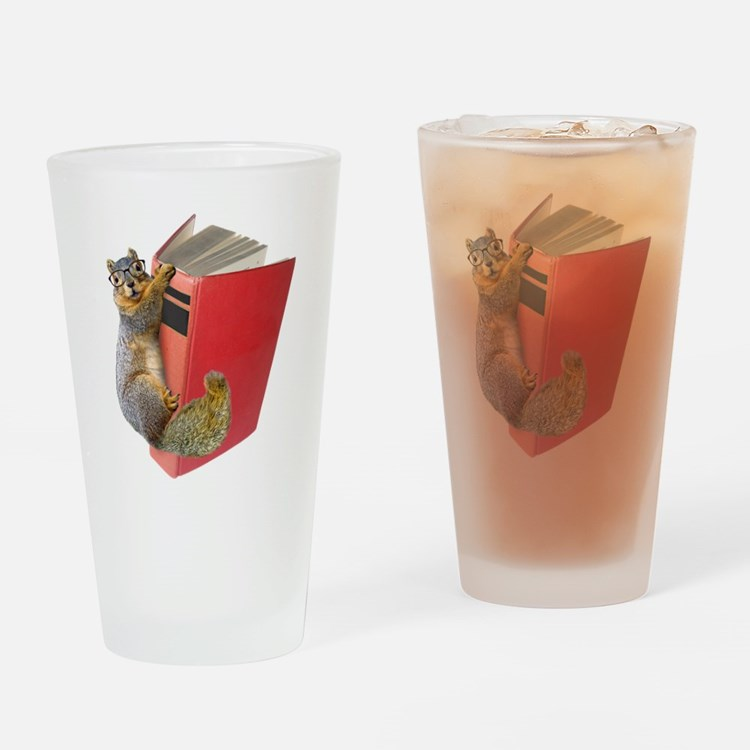Squirrel on Book Drinking Glass