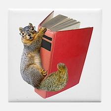 Squirrel on Book Tile Coaster