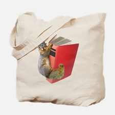 Squirrel on Book Tote Bag