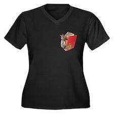 Squirrel on Women's Plus Size V-Neck Dark T-Shirt