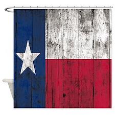 vintage Wooden planks Texas Flag Shower Curtain