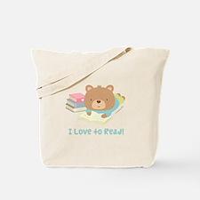 Cute Teddy Bear Loves to Read Tote Bag