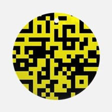 QR Code Black Yellow - Beach Bum Ornament (Round)