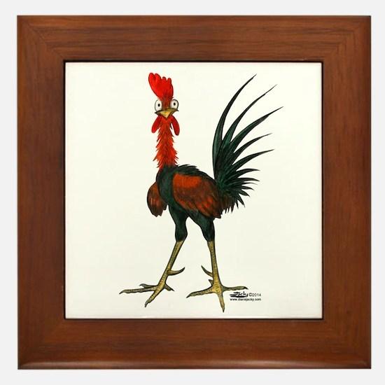 Crazy Rooster Framed Tile
