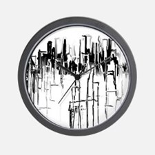 City in Black Wall Clock