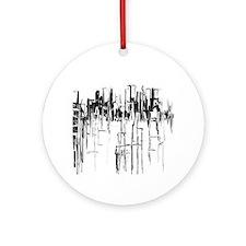 City in Black Ornament (Round)