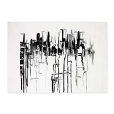 City in Black 5'x7'Area Rug