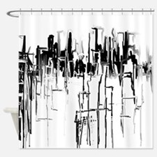 City in Black Shower Curtain