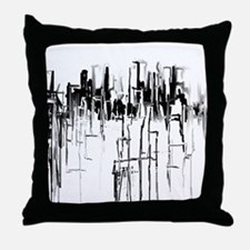 City in Black Throw Pillow