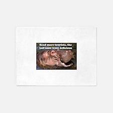 Send more tourists... hippo funny a 5'x7'Area Rug