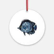 Metallic Blue Tropical Fish Ornament (Round)