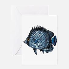 Metallic Blue Tropical Fish Greeting Cards