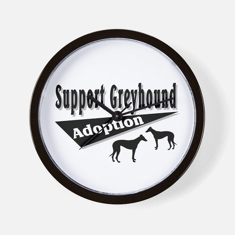 Support Greyhound Adoption Wall Clock