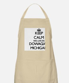 Keep calm we live in Dowagiac Michigan Apron