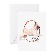 Pug Cameo Greeting Cards (6)