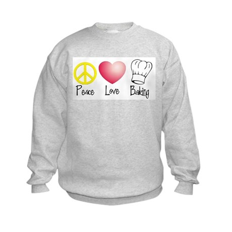 Peace, Love, Baking Kids Sweatshirt