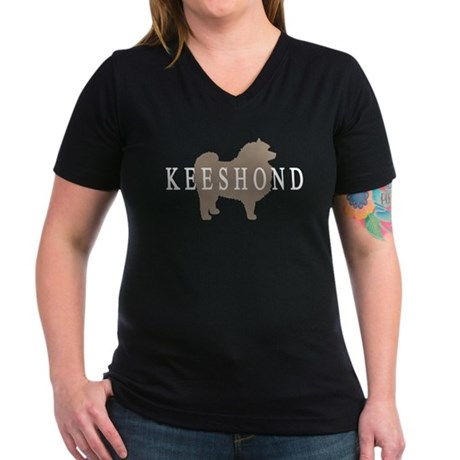Keeshond Dog & Text Women's V-Neck Dark T-Shirt