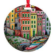 Colours of Riomaggiore Round Ornament