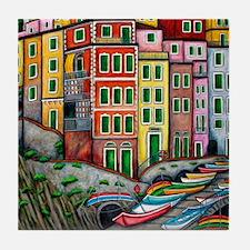 Colours of Riomaggiore Tile Coaster