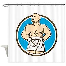 Boxer Champion Shouting Circle Retro Shower Curtai