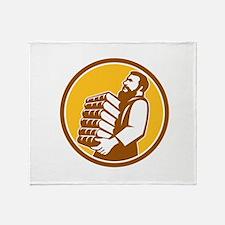 Saint Jerome Carrying Books Retro Throw Blanket