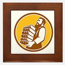 Saint Jerome Carrying Books Retro Framed Tile