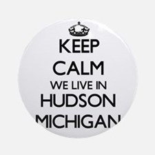 Keep calm we live in Hudson Michi Ornament (Round)