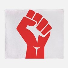 Red Power Fist Throw Blanket