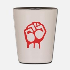 Red Raised Fist Shot Glass