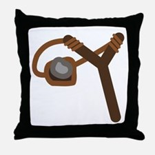Slingshot With Stone Throw Pillow