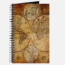 voyage compass vintage world map Journal