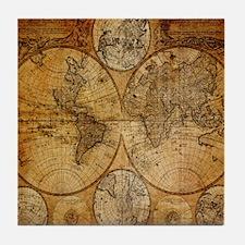 voyage compass vintage world map Tile Coaster