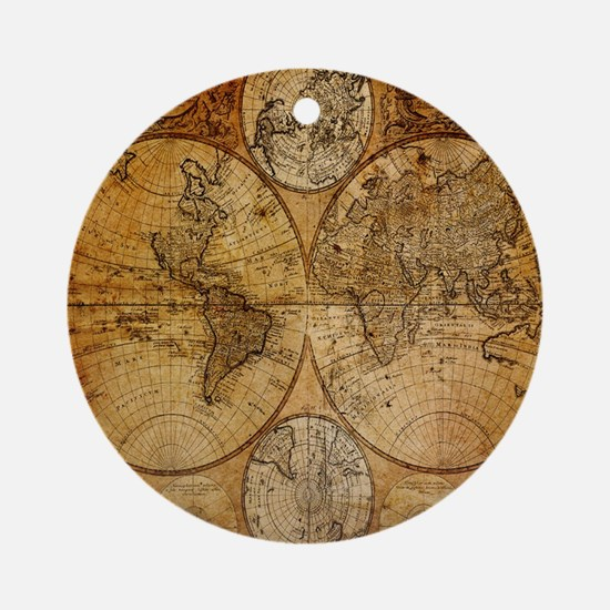 voyage compass vintage world map Ornament (Round)