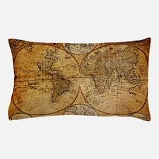 voyage compass vintage world map Pillow Case