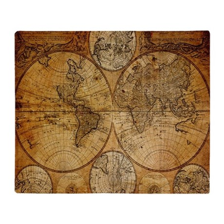 Voyage Compass Vintage World Map Throw Blanket By Admin