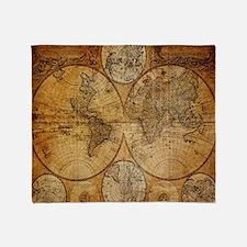 voyage compass vintage world map Throw Blanket