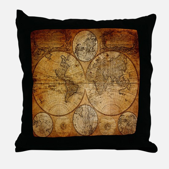 voyage compass vintage world map Throw Pillow