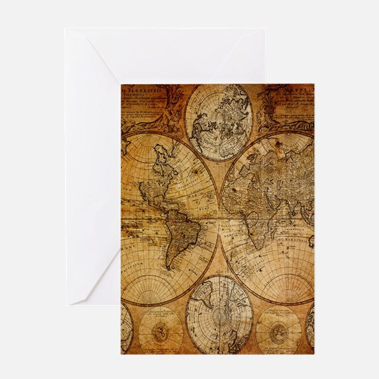 voyage compass vintage world map Greeting Cards