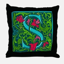 Floral Initial S Throw Pillow