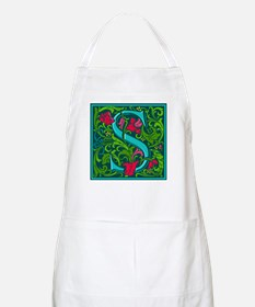 Floral Initial S BBQ Apron