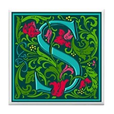 Floral Initial S Tile Coaster