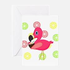 Citrus Pink Flamingo Greeting Cards